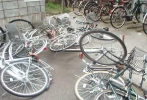 台風時の駐輪場