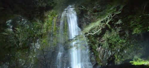 夜の箕面の滝